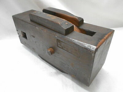 Vintage Wooden Ship's Pulley Rectangle One Wooden Wheel Japanese Large  #171