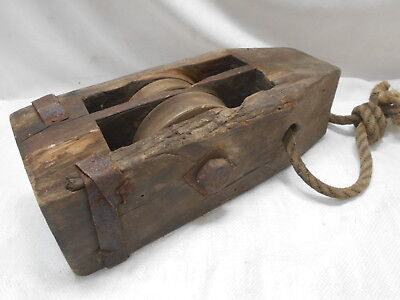Vintage Wooden Ship's Pulley Rectangle Two Wooden Wheels Japanese Large  #172