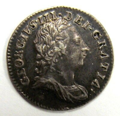 1762 Xf/au George Iii Three Pence, Beautiful Patina, With  Free Shipping In Usa