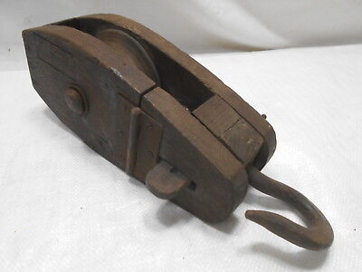 Vintage Wooden Ship's Pulley One Wooden Wheel Hinged Top Japanese #178