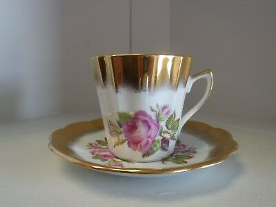 Rosina Heavy Gold Pink Roses Cup with Saucer
