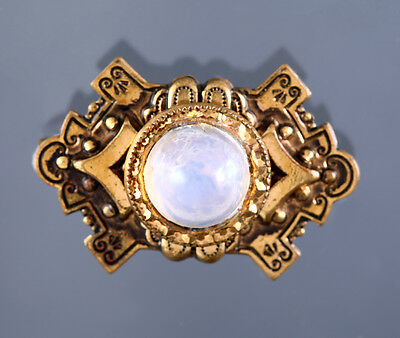 Antique Brooch Pin Bullet Domed Jelly Cabochon Brass C Clasp Vtg Estate Jewelry