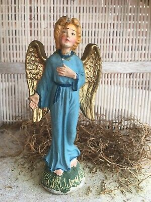 "Injured Vintage Italy Composition  Angel in Blue Robe Nativity Figurine, 5"" Tall"