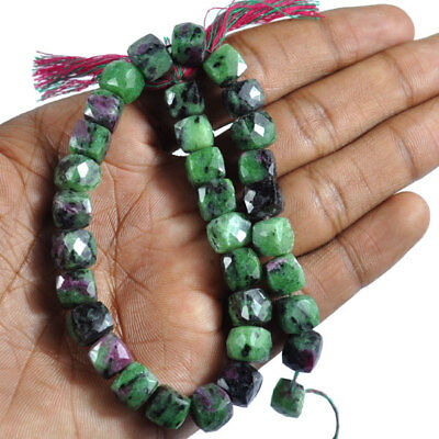 193.80 Carat Natural Untreated Ruby Zoisite Cube Faceted Beaded Strand 10""