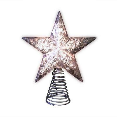 """8.5"""" Silver Mercury Durable Tree Topper Incandescent Lights Warm Cheerful Glow"""