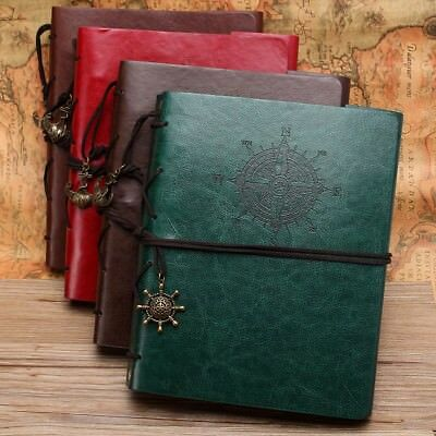 "MOHOO Photo Album Vintage Book Imitation Leather 120/60-pocket 4""-6""/7"" Gift -US"