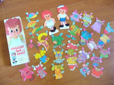 1973 Raggedy Ann Andy paper dolls + 26 pieces outfits Whitman Bobbs-Merrill