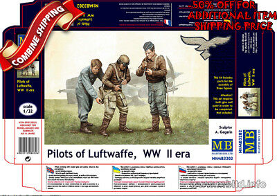 Master Box 3202 WWII German Pilots of Luftwaffe (3 Figures) plastic kit 1/32