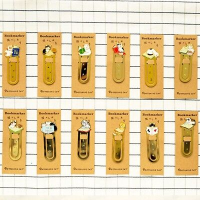 Metal Creative Cute Cat Bookmark Book Mark Magazine Note Pad Memo Label School