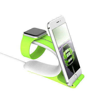 2 In 1 Charging Dock Stand Holder Mount For Apple iWatch iPhone 7 6 Plus Tablet
