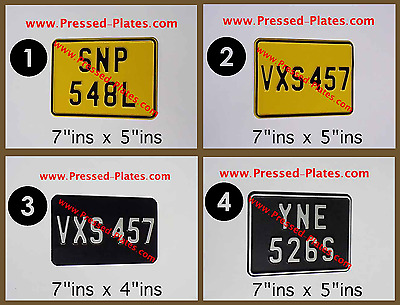 Motorcycle Number Plate Black & Silver or Yellow & Black / Pressed Plate x 1