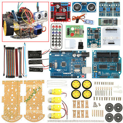 4WD Robot Car Kit UNO IR Bluetooth Obstacle Avoid Line Follow L298N for Arduino