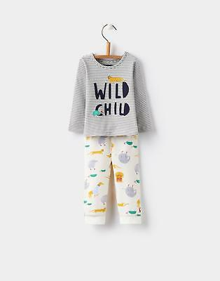 Joules 124463 Baby Boys Byron Applique Set in Cream Zoo Print with Striped Top