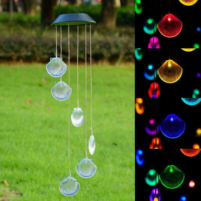 Solar Power LED Wind Chime Light Color Changing Garden Wedding Xmas Decor Pop