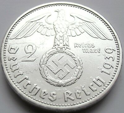 (818) XXRARE WWII German 2 Mark Silver Coin BIG SWASTIKA - 1939 A