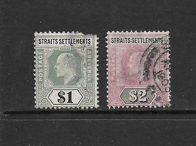 1902 King Edward VII SG136a $1 SG120 $2  higher values Used STRAITS SETTLEMENTS