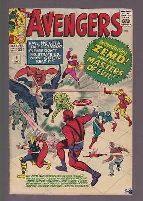 Avengers # 6  Introducing Zemo & his Masters of Evil !   grade 5.0 scarce book !