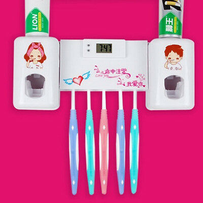 Toothbrush Holder Wall Mount Automatic Auto Toothpaste Dispenser With Clock New