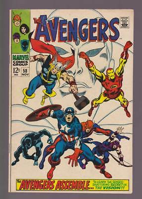 Avengers # 58  The Origin of the Vision !  grade 5.0 scarce book !