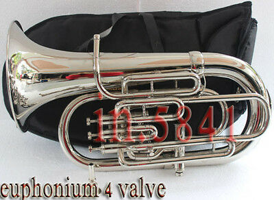 "Great Offer Euphonium 4Valve/bb/f_Pitch""great*finish&sound W/case&mp Tuba Chrome"