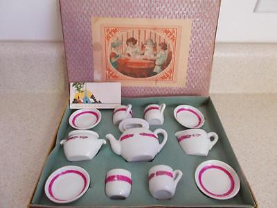 Antique CHILD'S TEA SET with original STAPLED Corners BOX vintage Play HOT PINK