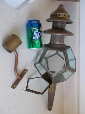 TALL BRASS Beveled GLASS CANDLE WALL Lamp SCONCE Vintage fixture ARTS & CRAFTS