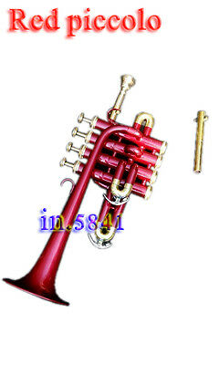 New Piccolo Trumpet Red_Color Paint Bb/a Pitch W/case&mp Picolo Brass Instrumets