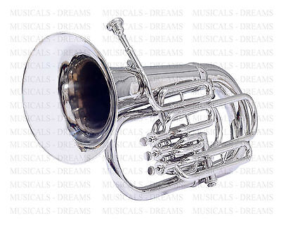 Bb FLAT EUPHONIUM FOR SALE 4 VALVE NICKEL PLATED NICEY TUNED WITH FREE CASE+MP
