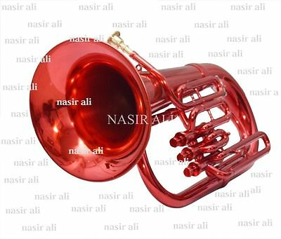 3 VALVE Bb PITCH EUPHONIUM RED COLORED FOR SALE NICELY TUNED + TESTED WITH CASE