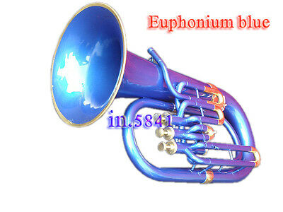 Euphonium Bb Blue Colored Bb Pitch W-Case&mp Brass Made Tuba Good Sound Indians