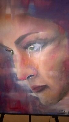 """Original Oil Painting on Canvas 20"""" x 24"""" by Kevin Richards """"Crying"""""""