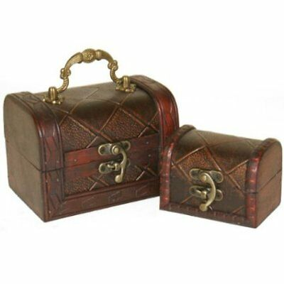 Set of 2 Decorative Rustic Wooden Colonial Style Diamond Checked Pirate Treasure