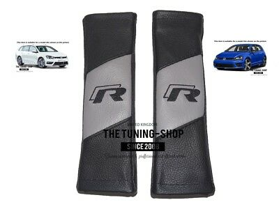 """2x Seat Belt Covers Pads Black & Grey Leather """"R-line"""" Embroidery For VW R-line"""