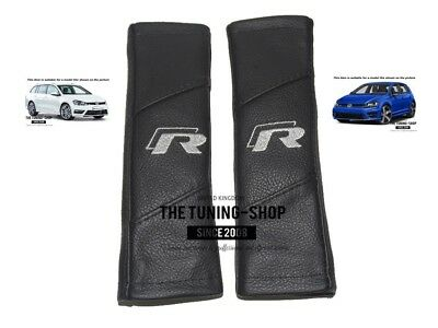 "2x Seat Belt Covers Pads Leather ""R-line"" Grey Embroidery For VW R-line"