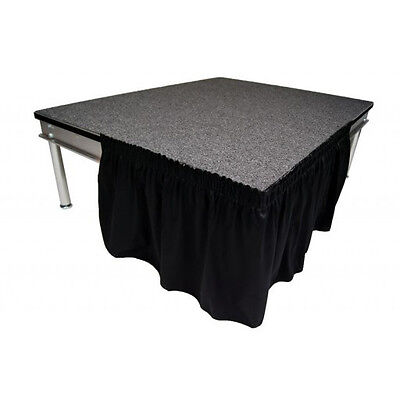 "Stage Skirting 24"" High Black Shirred Pleat Flame Retardant Polyester. In Stock!"