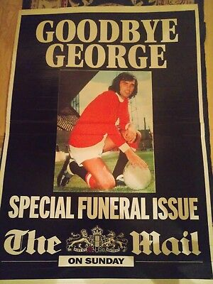 "GEORGE BEST FINAL FAREWELL ISSUE NOTICE BOARD 28""x 20"" RARE SURVIVOR 2005"