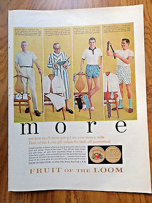 1958 Fruit of the Loom Underwear Ad Father's Day