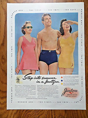 1940 Jantzen Swimsuits Ad Suplice Surfer & Hour Glass
