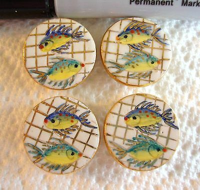 Lot of 4 Vintage Painted Ceramic Fish Picture Buttons Backmark Italy