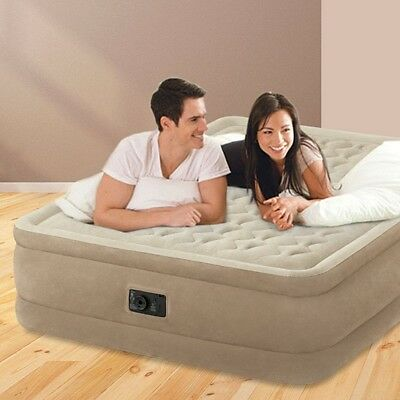 Intex Queen Size Ultra Plush Raised Airbed Mattress + Pump Inflatable Double Bed