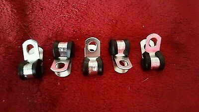 STAINLESS STEEL Pkt (5) rubber metal 5mm (3/16) P clips brake pipe or cable size