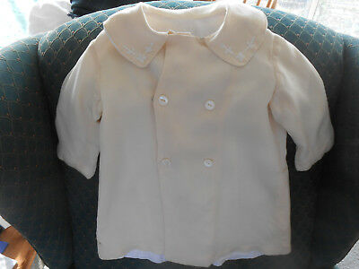 Antique Silk Baby Coat, Ivory Color Silk/hand Embroideryey, Early 20Th. Century