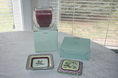 Partylite Fusions Decorative Topper & Tray & Raspberry Candle NIB