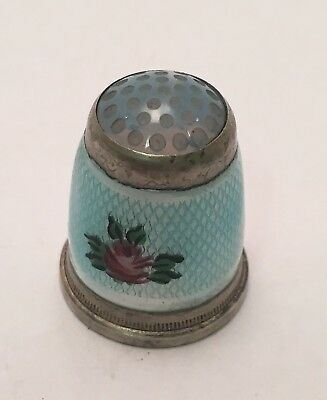 Guilloche Enameled Sterling Thimble #6 Germany