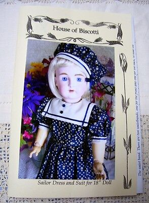 "18""   Sailor Dress PATTERN for Antique Doll, Jacket and Hat     German Kestner"
