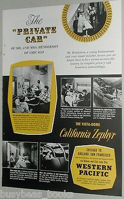 1956 WESTERN PACIFIC RR advertisement, California Zephyr Private Car