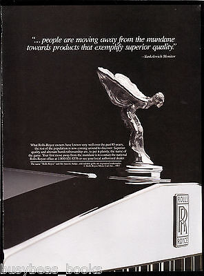 1987 ROLLS-ROYCE advertisement, Rolls-Royce hood ornament, R-R mascot close-up