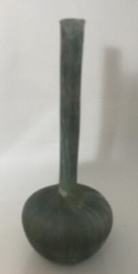 "Green Gray  Israel Glass VASE Long Neck Roman Jug Holy Land 7"" Tall"