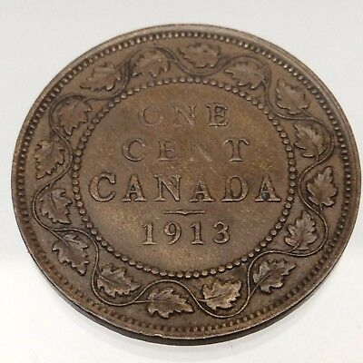 1913 Canada One 1 Cent Penny Large Copper Circulated Canadian Coin B527