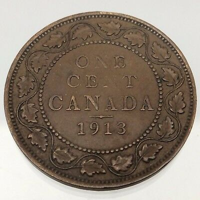 1913 Canada One 1 Cent Penny Copper Circulated Large Canadian Coin B537